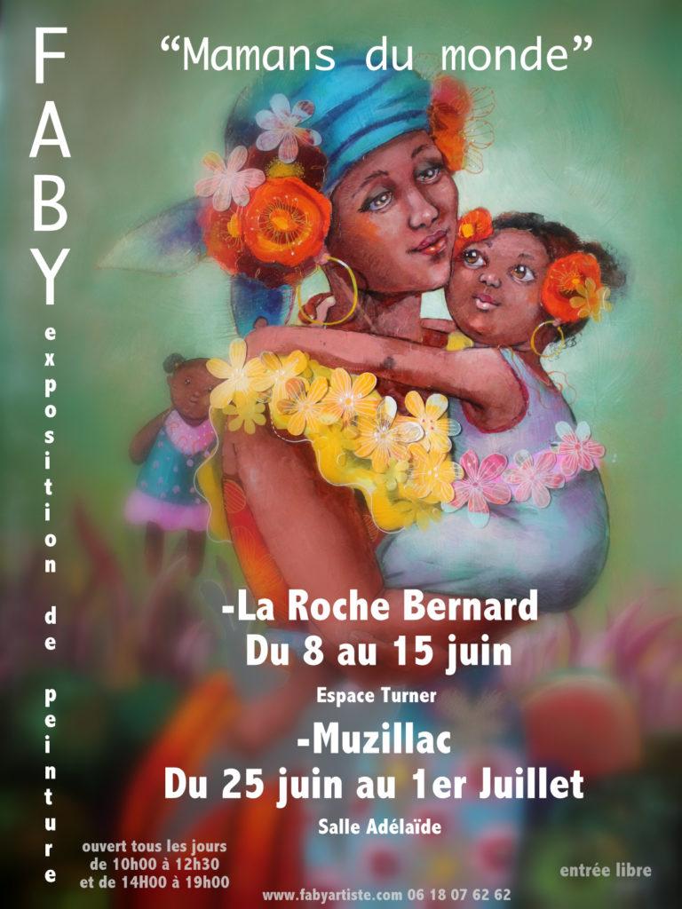 """Exposition personnelle d'une quarantaine de toiles sur le thème """"Mamans du monde"""". Salle Adélaïne (à côté de l'office de tourisme). Exposition ouverte tous les jours de 10h00 à 12h30 et de 14h00 à 19h00."""