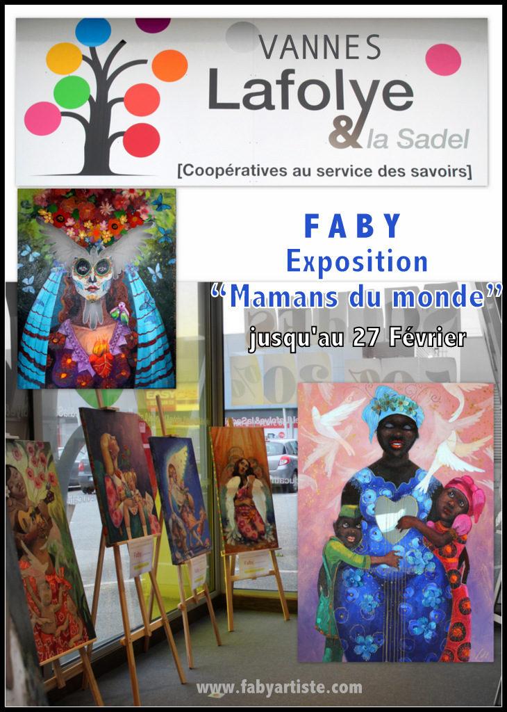 """Une dizaines de toiles """"Mamans du monde""""sont actuellement exposées dans le magasin beaux arts """"Lafolye"""" à Vannes."""